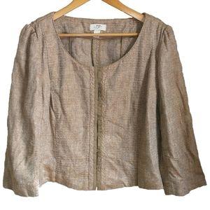 LOFT Beige Linen Boxy Fit Blazer, size 16